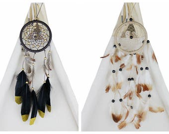 Wood Beads & Feather Dream Catcher