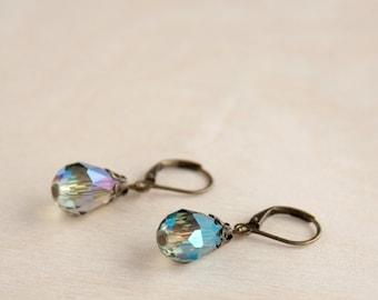 Blue Antique Earrings, Faceted Glass Teardrop Beads, Brass, Neo Vintage Jewelry