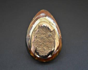 Simbircite with pyrite natural stone cabochon 61 х 43 х 9 mm