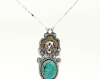Sugar Skull Necklace, Turquoise Pendant, Turquoise Necklace, Silver Necklace, Day of the Dead Necklace, Gold Necklace, Dia De Los Muertos