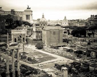Rome Italy - Roman Forum - Architecture - Black and White - Sepia - Fine Art Photograph - Roman Forum Survey