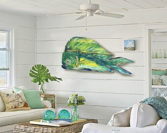 """Driftwood Beach Décor 41"""" Color Dolphinfish 2d sculpture by SEASTYLE"""