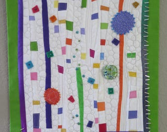 NEW! Original Wall Hanging, Fiber Art, Playful Art, Abstract Art, Multicolored Art, Quilter's Art