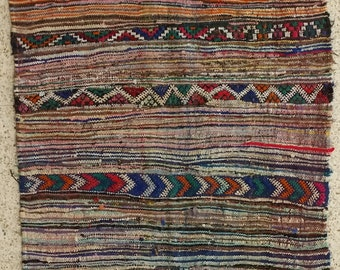 """80""""x53"""" Vintage Moroccan Rug Woven By Hand From Scraps Of Fabric / Boucherouite / Boucherouette"""