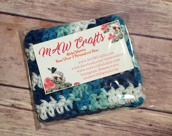 Nautical Teal Blues Colored Crochet Coffee Cozy, Drink Sleeve