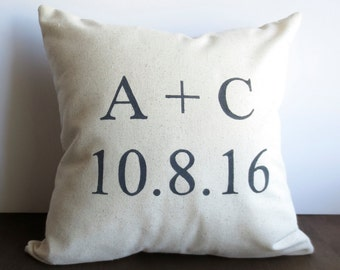 Name and Date Pillow - custom date pillow, Pillow cover, Wedding Date, Custom pillow cover, cushion cover, personalized gift, black, grey