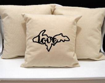Upper Penninsula Love Pillow, Michigan Pillow, Home Decor, Decorative PIllow, Throw Pillow, Home Pillow, State Pillow, Pillow Cover, home