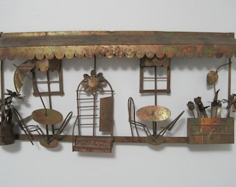 Metal Wall Sculpture, Cafe Scene, Mid Century, C. Jere Inspired, Vintage