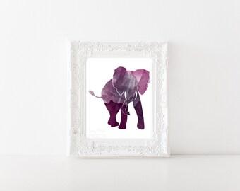 Majestic Watercolor Elephant Print