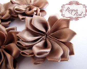 Warm Taupe Tan Satin Ribbon Fabric Flowers, 5 pcs, 38mm size,  ribbon flower, hair clip embellishment - reynaredsupplies