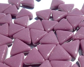 Small Purple Triangle Glass Mosaic Tiles - 10mm - Opaque Glass Solid Color - 50g of Plum Triangles