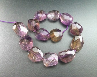 Full Strand Large Natural Ametrine Freeform Faceted Flat Nugget Beads