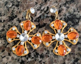 Orange Clip Earrings