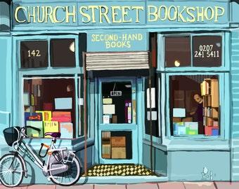 Church Street Bookshop, Stoke Newington, London Art Print
