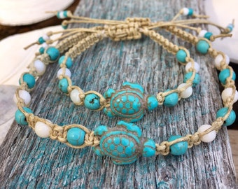 TURTLE ANKLET-Turtle Ankle Bracelet-Turquoise Turtle Anklet-Beaded Macrame Anklet by That's How I Knot