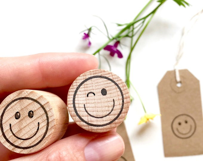 Happy Face And Wink Face Emojis Clear Rubber Stamps - Emoji - Smiley - Wink - Winky - Face - Happy - Little Stamp Store
