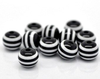 10mm Round Black and White Acrylic Striped Beads, 100 beads, bac0034
