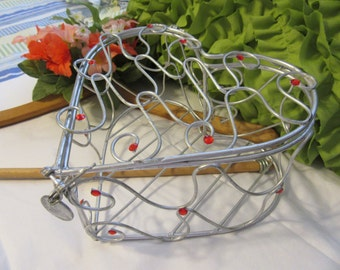 Basket Wire Heart Silver Red Bling Accents Opens to Hold Your Special Items Table Decor Storage Gift Idea Unique Home Decor Country Decor
