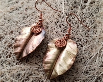 Curvy Leaf Earrings w/spiral accessory Pure-Copper Hand-Made Rose Gold Tone Dangle Drop Earrings/Gift