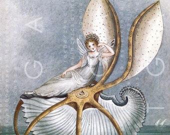 Tiny SEA FAIRY Rests On A SHELL Fairy Vintage Illustration. Vintage Sea Sprite Digital Print. Digital Fairy Download.
