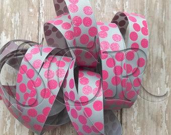 Pink Glitter Dot Grosgrain Ribbon Grey USDR Polka Dot 7/8 inch Ribbon by the Yard DIY Cr aft Supply Hairbow Ribbon Trim Grey Ribbon