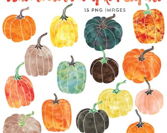 Watercolor Graphics, Pumpkin Clipart, Fall Clip Art, Instant Download, Commercial Use Thanksgiving Clipart