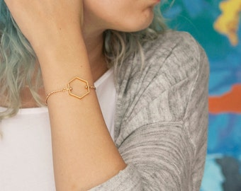 Minimalist Hexagon Bracelet, Gold Tone
