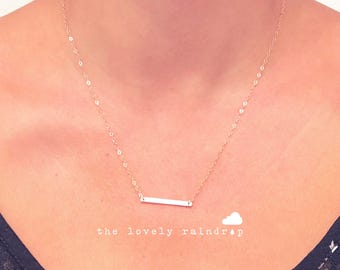 Tiny Bar Necklace in Gold - Little Bar Pendant Suspended - Dainty Gold Jewelry - Minimalist - Perfect Gift - thelovelyraindrop