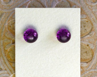 Dichroic Glass Earrings, Petite, Purple  DGE-1344