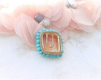square spacer connectors, gold connector, 27 mm turquoise bead
