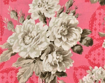 RJR Jardin Gris By Robyn Pandolph 2731 3 Vintage Rose Bouquet On Pink By The Yard