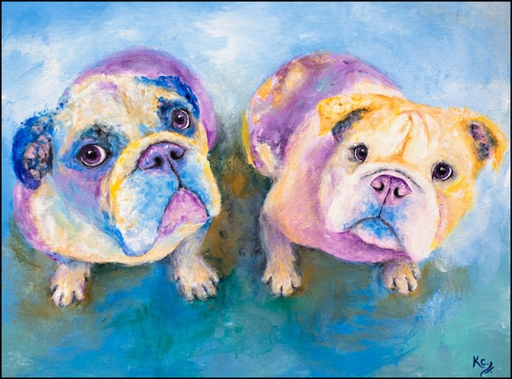 "English Bulldog Art Print of My Dog Painting - Pair of English Bulldogs, Dog Artwork, England Bulldog, Bulldog Wall Art ""Jude and Beth""."
