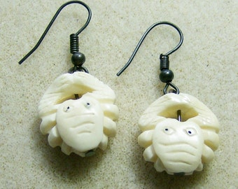 Bone Crab Earrings - Hand Carved White Bone Crab Earrings by JewelryArtistry - E624