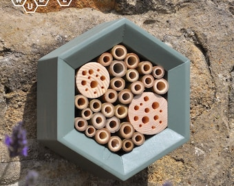 Bee House - Honeycomb Solitary Bee House - Bee Hotel - Gift for Gardeners - Green - Gardner Gift - Hexagon Bee House - Garden Decor