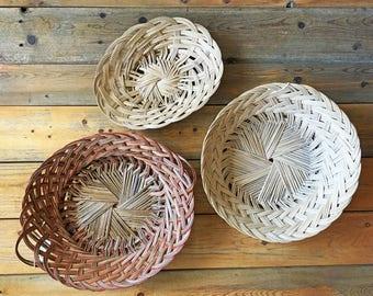 Vintage Wicker Basket Set/Woven Baskets/Three Basket Wall Decor/Handled Bread Basket/Oval Baskets/Wall Basket Collection/Boho Basket Decor
