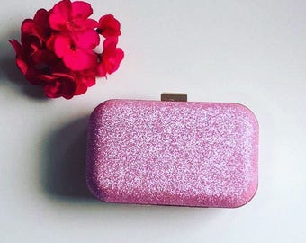 Pink Glitter Frame Clutch Bag