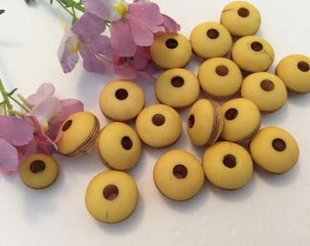 Wooden saucer beads Vintage made in West Germany C'1970 2 sizes available 10mm 14mm diameter