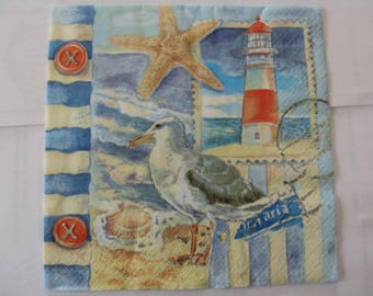 set of 2 Starfish Seagull paper napkins