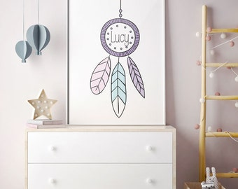 Personalised dream catcher name wall art print for nursery or kids room. Download