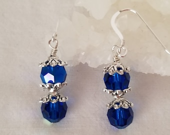 Majestic Blue Crystal Beaded Sterling Silver Earrings