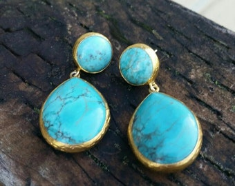 Turquoise Sterling Silver 18k Gold Dipped Dseiner Earrings