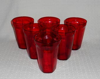 Bryce Ruby Red ANTIQUE Pattern Highball Glasses Tall Tumblers ~ Set of 6