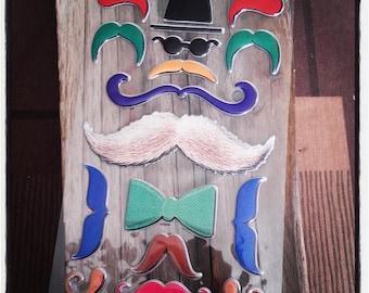 Multicolor 16 stickers mustache sticker tag
