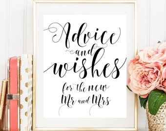 Advice and wishes for the new Mr and Mrs Advice for the bride and groom Advice sign Wedding wishing well box sign Wedding wishing tree #vm31
