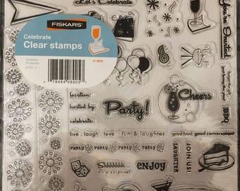 Fiskars 8x8 CELEBRATE acrylic stamp