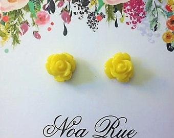 Yellow Rose Resin 8mm Stud Earrings
