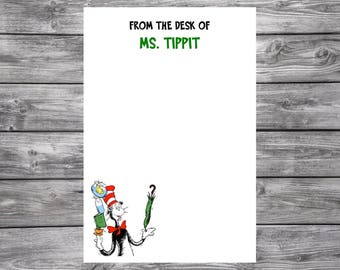 Silly Cat In The Hat- Dr. Seuss-Personalized Teacher Gift- Notepad- 4x6