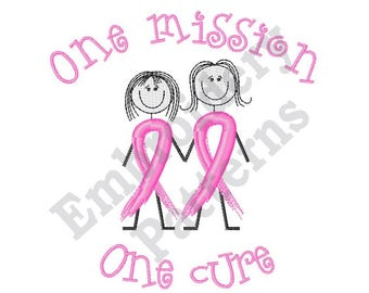 One Mission One Cure Cancer Ribbon - Machine Embroidery Design