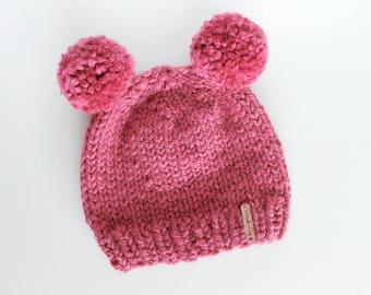 Double Pom Beanie, Baby Knit Beanie, Kid's Knit Beanie, Chunky Knit Beanie, Infant Knit Beanie, Baby Winter Hat, Pom Pom Hat, Baby Shower