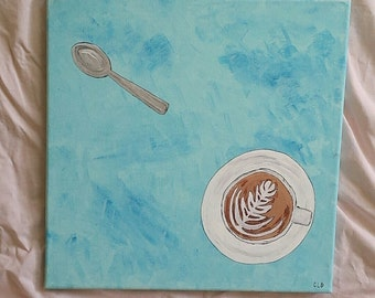 """Latte and Spoon; Acrylic on12x12"""" Canvas"""